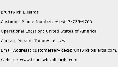 Brunswick Billiards Phone Number Customer Service