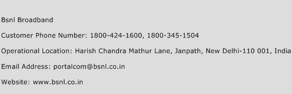 Bsnl Broadband Phone Number Customer Service