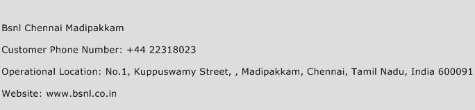 Bsnl Chennai Madipakkam Phone Number Customer Service