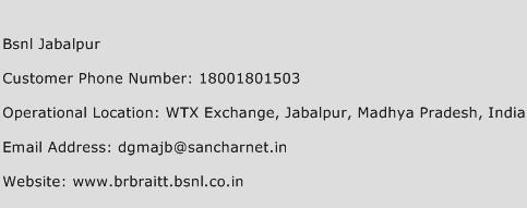 Bsnl Jabalpur Phone Number Customer Service