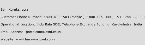 Bsnl Kurukshetra Phone Number Customer Service