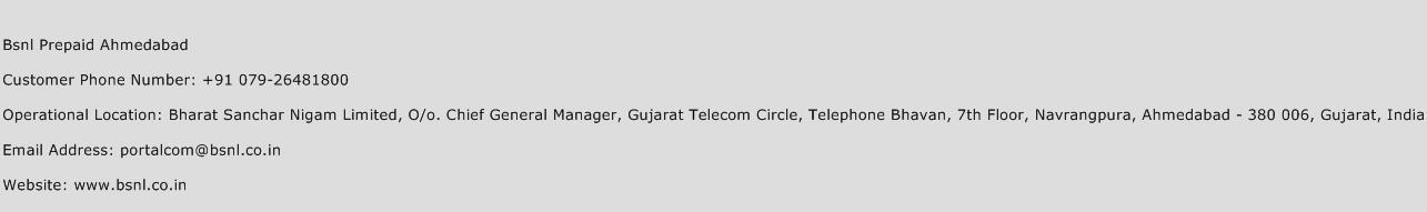 Bsnl Prepaid Ahmedabad Phone Number Customer Service