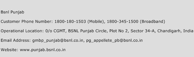 Bsnl Punjab Phone Number Customer Service