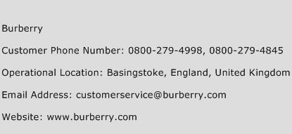 Burberry Phone Number Customer Service