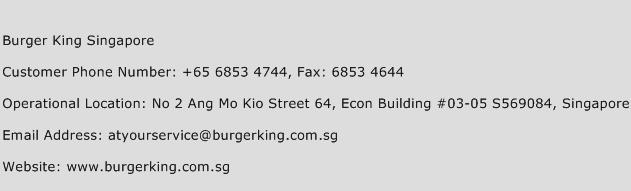 Burger King Singapore Phone Number Customer Service