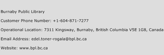Burnaby Public Library Phone Number Customer Service