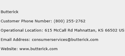Butterick Phone Number Customer Service