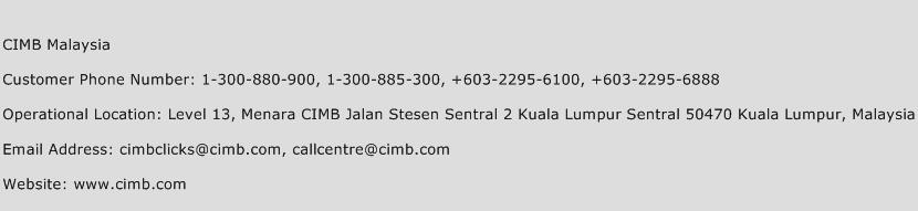 CIMB Malaysia Phone Number Customer Service