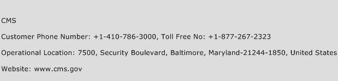 CMS Phone Number Customer Service