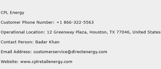 CPL Energy Phone Number Customer Service
