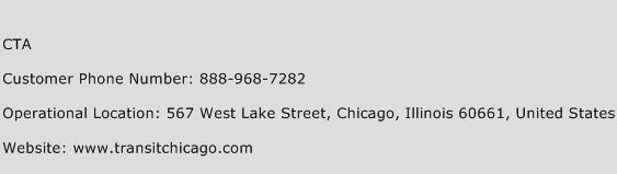 CTA Phone Number Customer Service