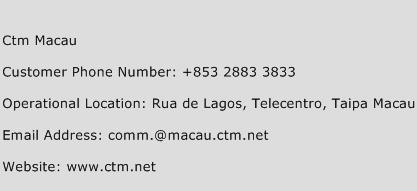 CTM Macau Phone Number Customer Service