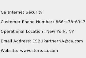 Ca Internet Security Phone Number Customer Service