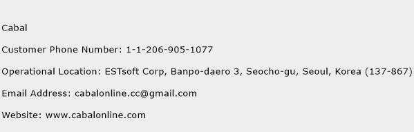 Cabal Phone Number Customer Service