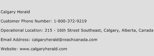 Calgary Herald Phone Number Customer Service