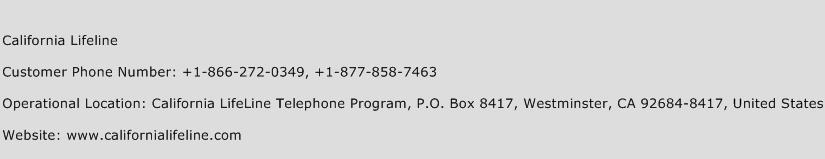 California Lifeline Phone Number Customer Service