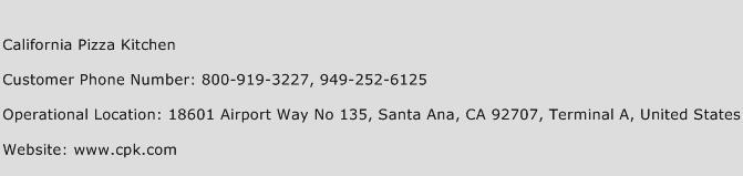 California Pizza Kitchen Phone Number Customer Service
