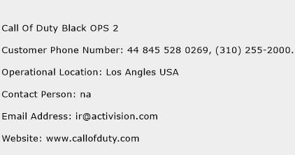 Call Of Duty Black OPS 2 Phone Number Customer Service