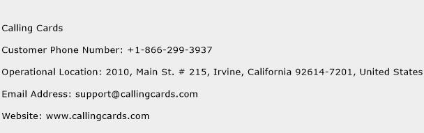 Calling Cards Phone Number Customer Service