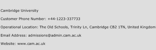 Cambridge University Phone Number Customer Service