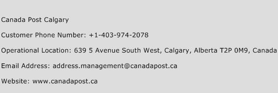 Canada Post Calgary Phone Number Customer Service