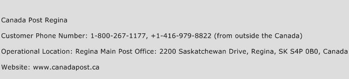 Canada Post Regina Phone Number Customer Service
