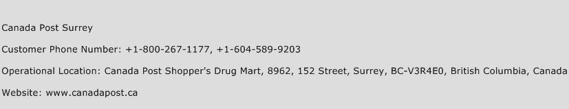 Canada Post Surrey Phone Number Customer Service