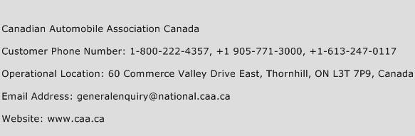 Canadian Automobile Association Canada Phone Number Customer Service