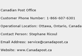 Canadian Post Office Phone Number Customer Service