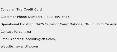 Canadian Tire Credit Card Phone Number Customer Service