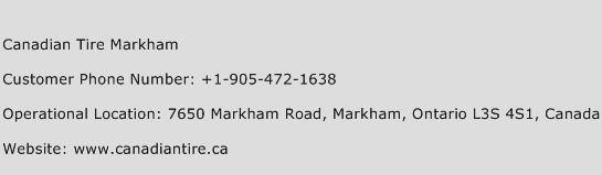 Canadian Tire Markham Phone Number Customer Service