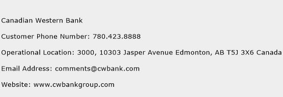 Canadian Western Bank Phone Number Customer Service