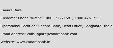 Canara Bank Phone Number Customer Service
