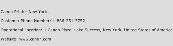 Canon Printer New York Phone Number Customer Service