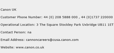 Canon UK Phone Number Customer Service