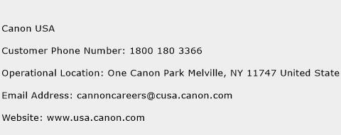 Canon USA Phone Number Customer Service