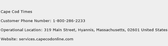 Cape Cod Times Phone Number Customer Service