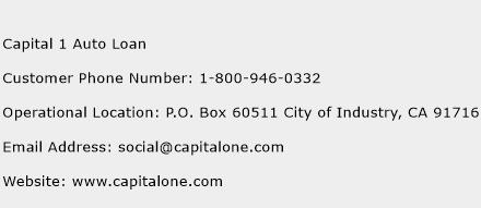 Capital 1 Auto Loan Phone Number Customer Service