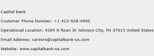 Capital Bank Phone Number Customer Service