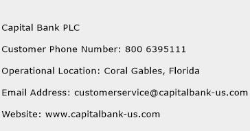 Capital Bank PLC Phone Number Customer Service