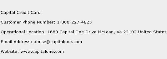 Capital Credit Card Phone Number Customer Service