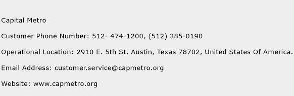 Capital Metro Phone Number Customer Service