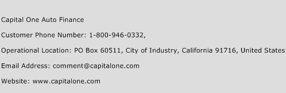 Capital One Auto Finance Phone Number Customer Service