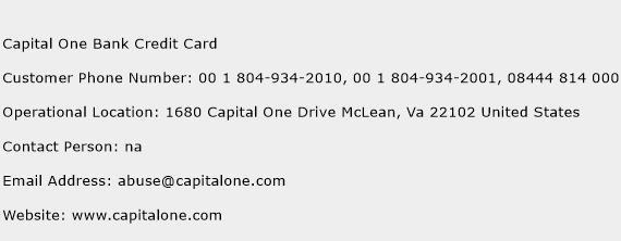 Capital One Bank Credit Card Phone Number Customer Service