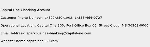 Capital One Checking Account Phone Number Customer Service