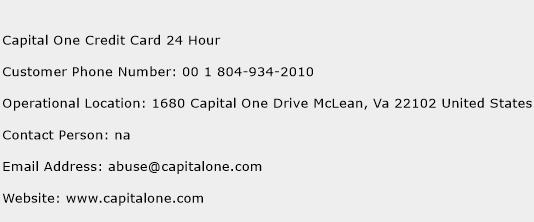 Contact Capital One >> Capital One Credit Card 24 Hour Customer Service Phone Number