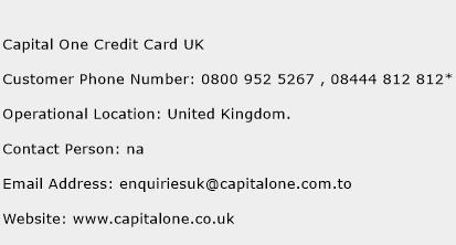 Capital One Credit Card UK Phone Number Customer Service