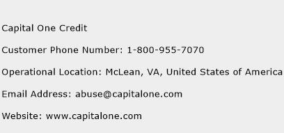 Capital One Credit Phone Number Customer Service