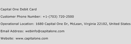 Capital One Debit Card Phone Number Customer Service