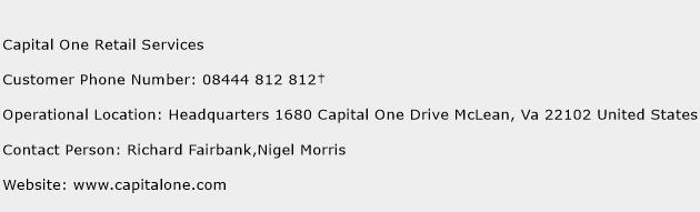 Capital One Retail Services Phone Number Customer Service